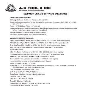 A-G Equipment List