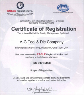 A-G Tool & Die ISO 9001:2008 Certification