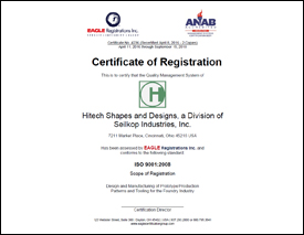HITECH Shapes and Designs ISO 9001:2008 Certification